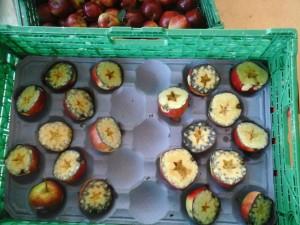 Her kan du se forskjellig mengde stivelse i eplene